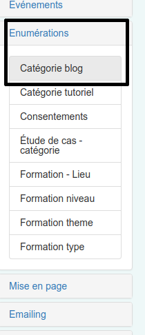 Créer et nommer les catégories